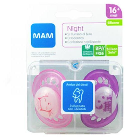 Bamed Baby Italia Mam Night Succhietto 16+ Silicone Confezione Doppia