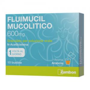 Fluimucil Mucol 600 Mg Granulato Per Soluzione Orale Senza Zucchero, 10 Bustine