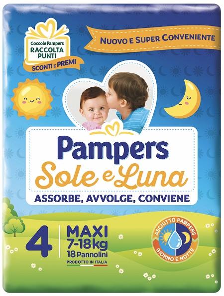 Fater Pannolino Per Bambino Pampers Sole e Luna Maxi 18 Pezzi