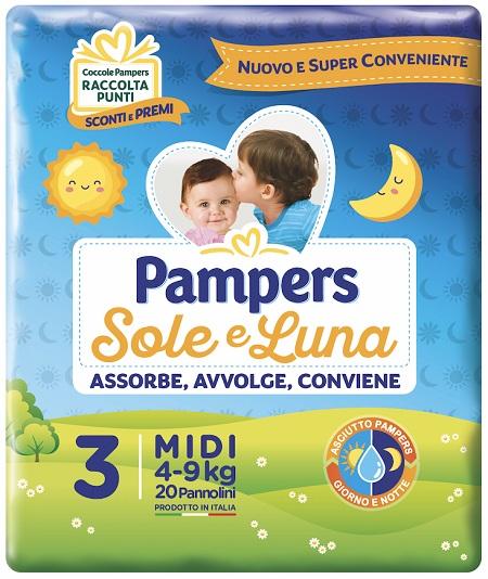 offerta Fater Pannolino Per Bambino Pampers Sole e Luna Midi 20 Pezzi