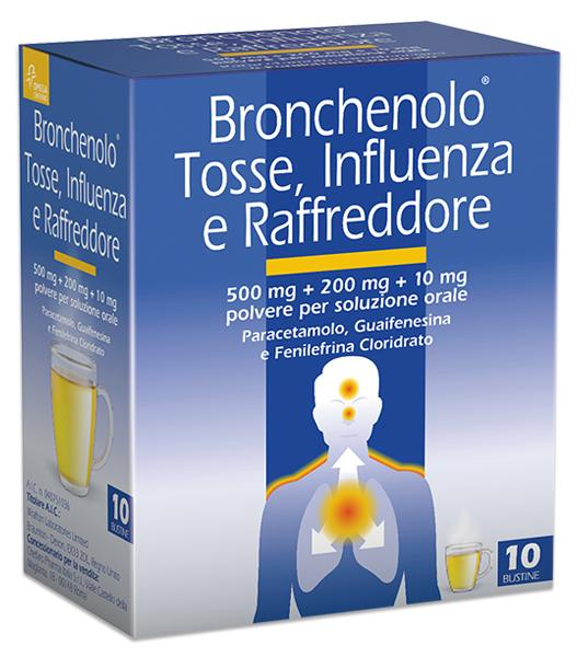 Bronchenolo Tosse Influenza Raffreddore 500 Mg + 200 Mg + 10 Mg 10 Bustine