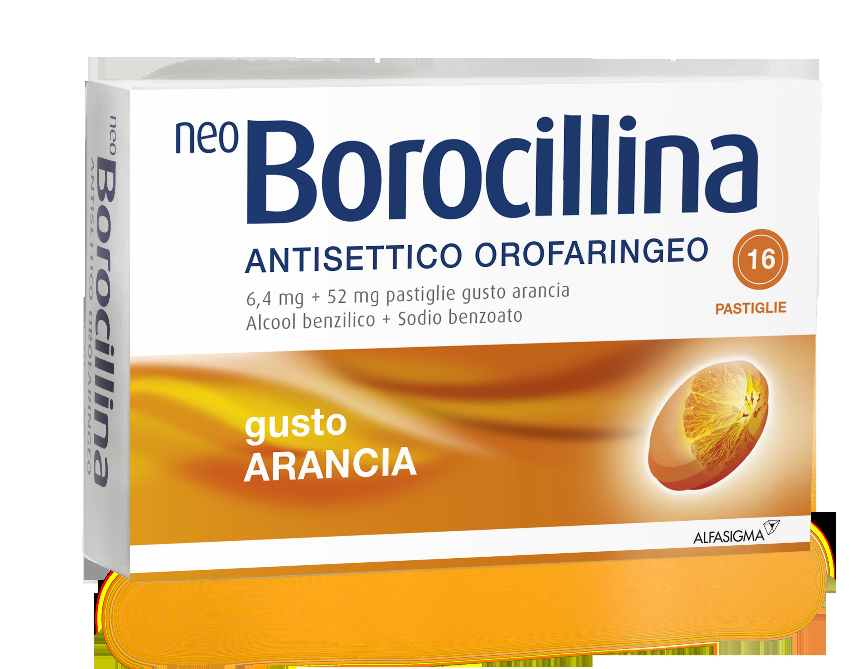 NeoBorocillina Antisettico Orofaringeo Gusto Arancia 16 Pastiglie