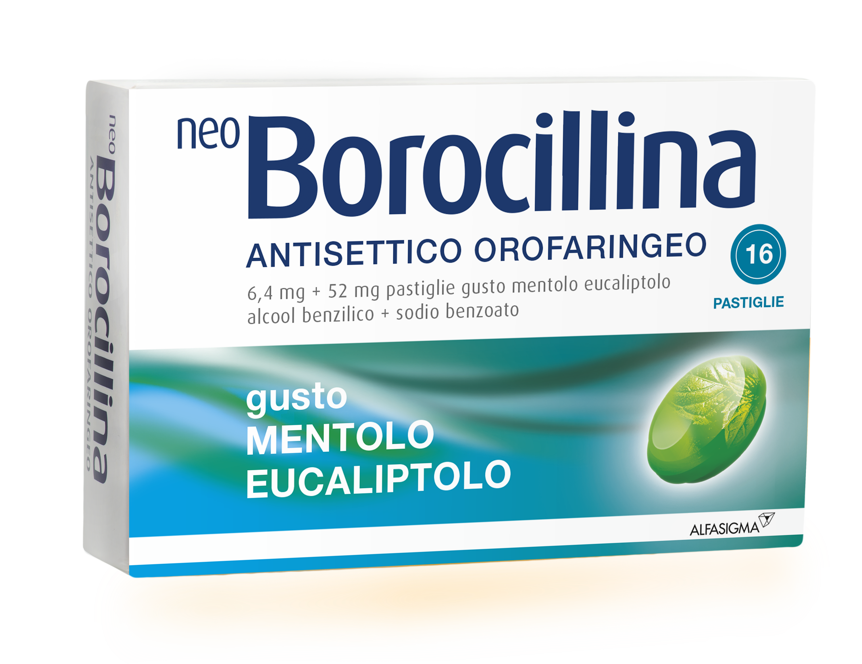 NeoBorocillina Antisettico Orofaringeo Gusto Mentolo-Eucaliptolo 16 Pastiglie