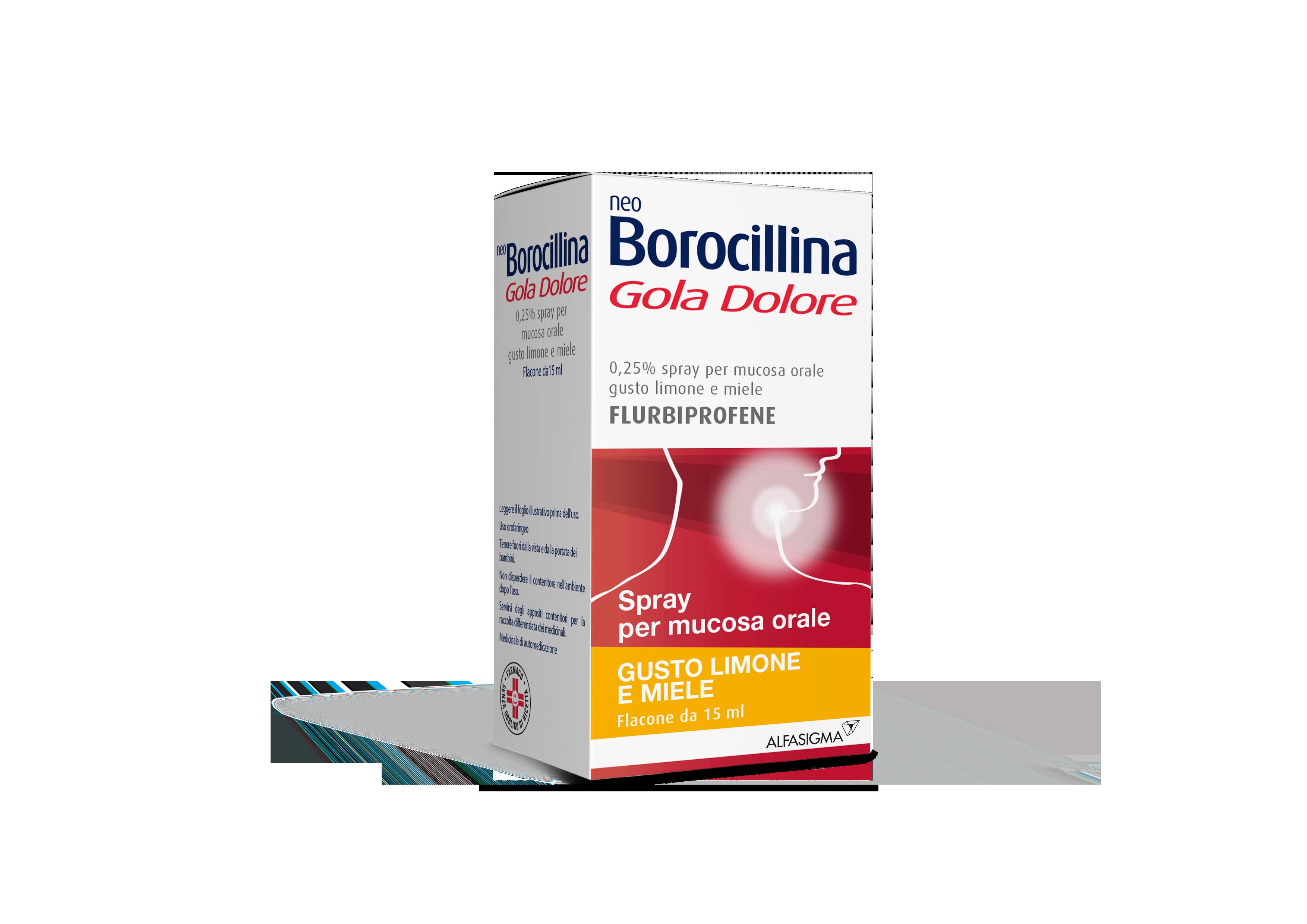 NeoBorocillina Gola Dolore 0.25 % 15 Ml Limone e Miele