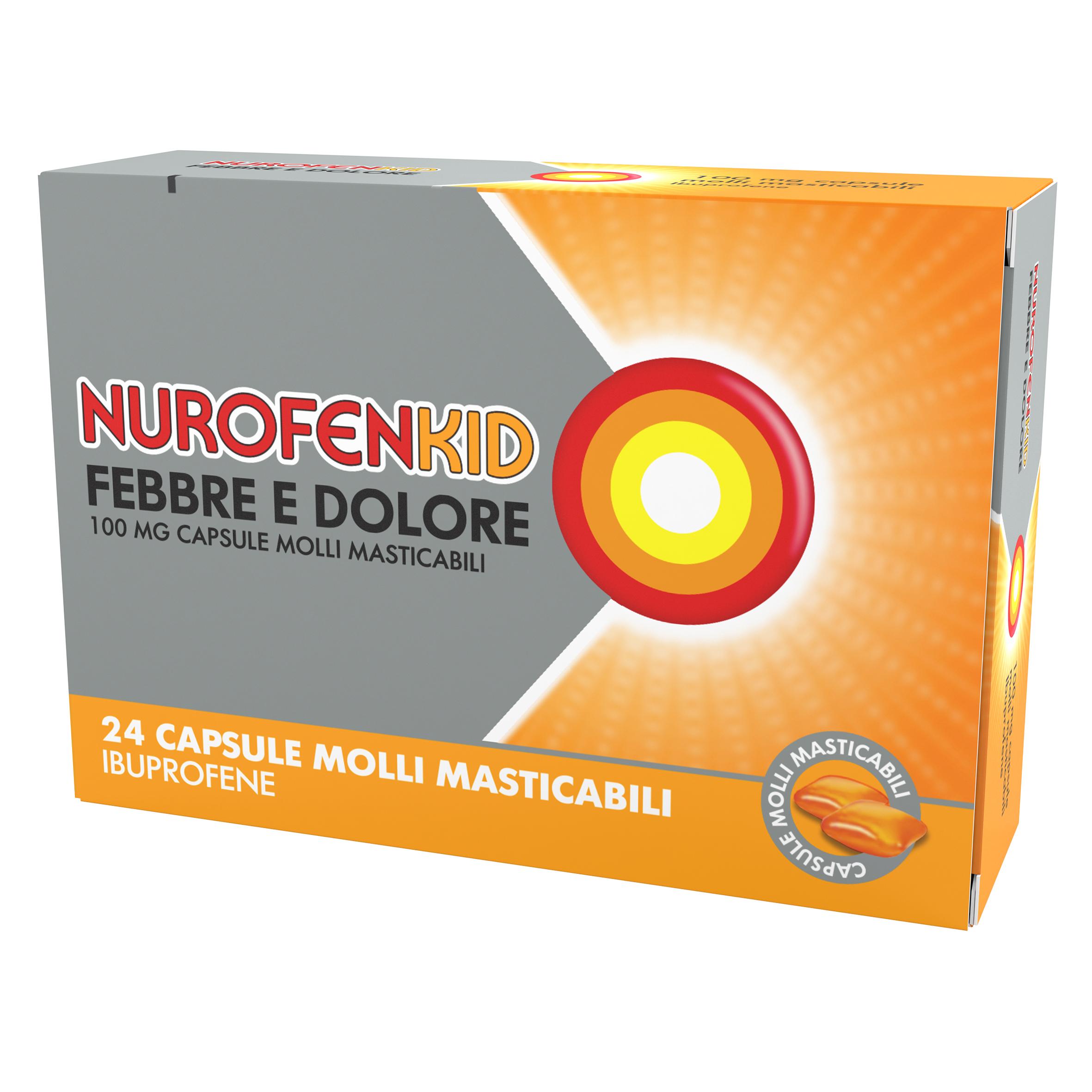 Nurofenkid Febbre e Dolore 24 Capsule Molli Masticabili 100 Mg