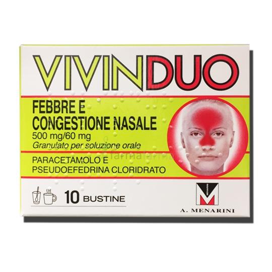 VivinDuo Febbre e Congestione Nasale 500 Mg + 60 Mg 10 Bustine