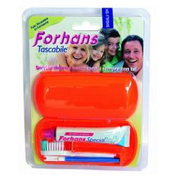Forhans Tascabile Kit da Viaggio Spazzolino+Dentifricio 12.5 Ml (Tubi di Ricambio Disponibili)