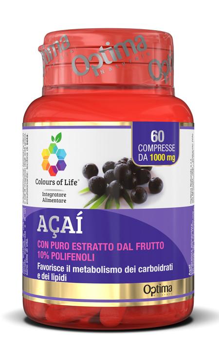Optima Naturals Colours Of Life Acai 60 Compresse 1000 Mg