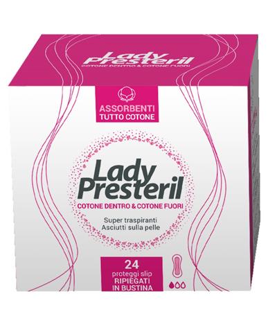 Lady Presteril Cotone Dentro e Fuori Proteggi slip 24 Pezzi