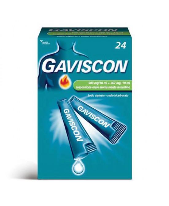Gaviscon 500 Mg/10 Ml + 267 Mg/10 Ml Sospensione Orale Aroma Menta 24 Bustine Monodose Da 10 Ml