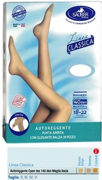 Sauber Autoreggente  - Open Toe Maglia Liscia 140Den Colore Neutro Beige Taglia5