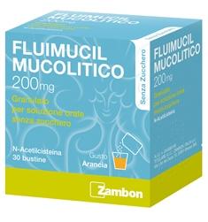 Fluimucil Mucol 200 Mg Granulato Per Soluzione Orale Senza Zucchero 30 Bustine