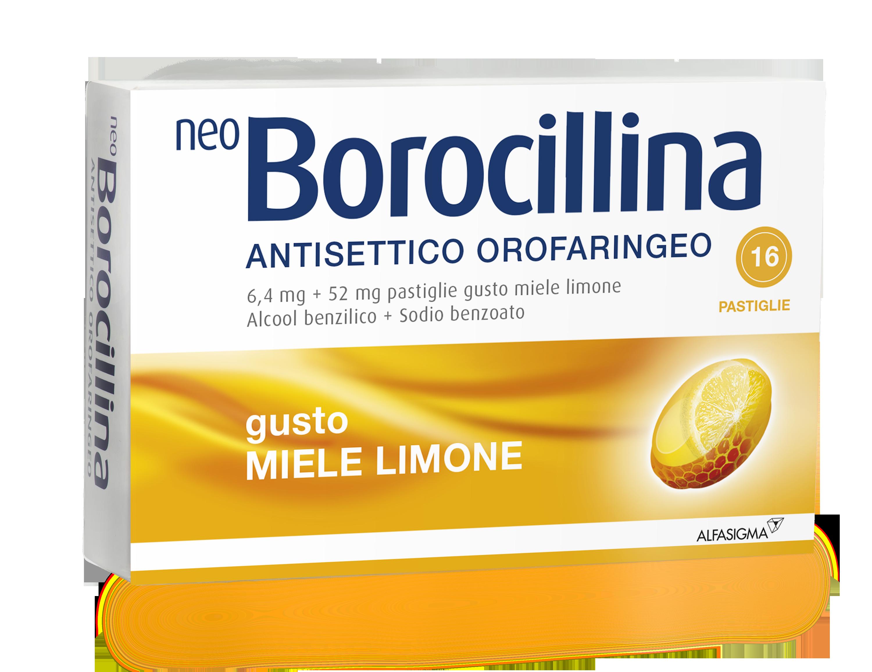 Neoborocillina Ant Or 6,4 Mg + 52 Mg Pastiglie Gusto Limone, 16 Pastiglie In Blister Al/Pvc