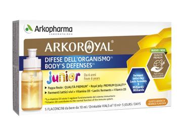 Arkoroyal Difese Junior pappa Reale + Fermenti Lattici + Vitamine D 5 Flaconcini