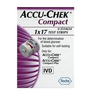 Strisce Misurazione Glicemia Accu chek Compact Plasma 17 Pezzi
