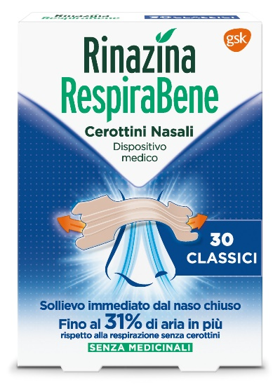 Rinazina Respirabene Cerotti Nasali Classici Carton 30 Pezzi
