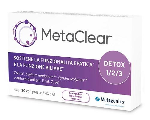 Metagenics integratore per la depurazione del fegato Metaclear 30 Compresse