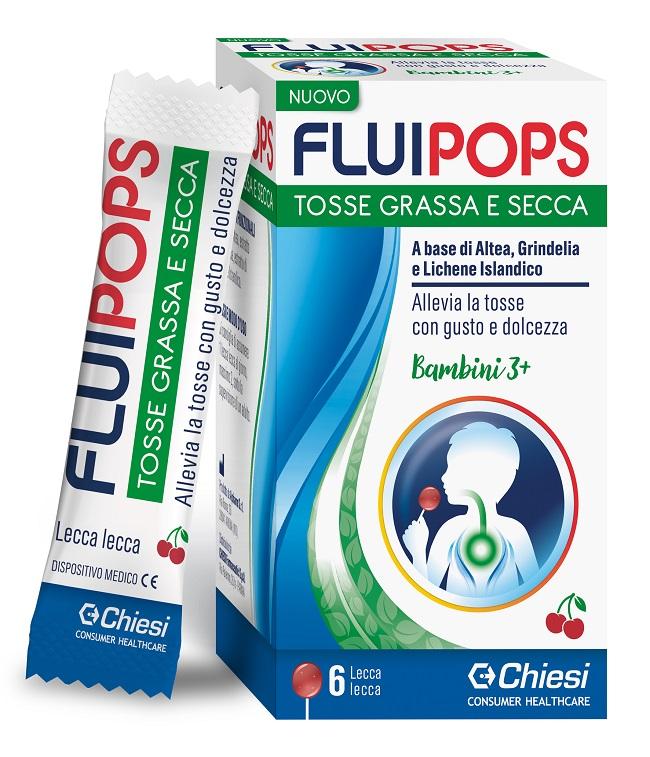 Fluipops 6 Lecca Lecca Gusto Ciliegia Per Tosse Grassa e Secca