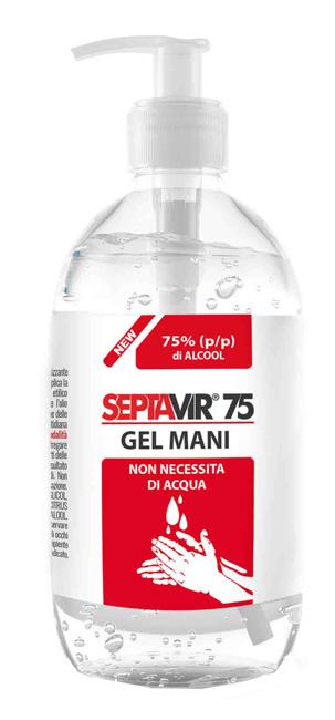 Septavir 75 Gel Mani con 75 di Alcool Etilico dispenser da 500 ml