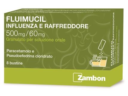 Fluimucil Influenza Raffr 500 Mg + 60 Mg Granulato Per Soluzione Orale 8 Bustine