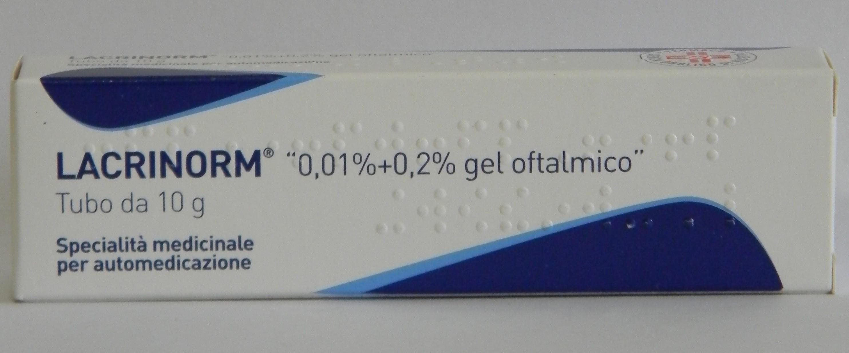 Lacrinorm 0,01% + 0,2% Gel Oftalmico Tubo 10 G