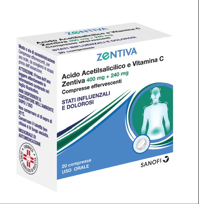 Acido Acetils Vit C Zen 400 Mg + 240 Mg Compresse Effervescenti 20 Compresse