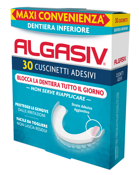 Algasiv Adesivo per Protesi Dentaria Inferiore 30 Cuscinetti Adesivi