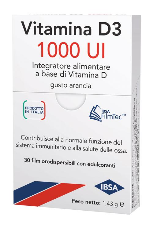 Vitamina D3 1000 Ui Integratore per il Sistema Immunitario 30 Film Orali
