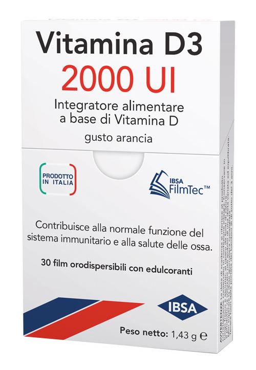 Ibsa Farmaceutici Vitamina D3 2000 Ui Integratore Gusto Arancia 30 Film Orali