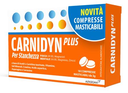 Carnidyn Plus Integratore Stanchezza Fisica e Mentale 18 Compresse Masticabili