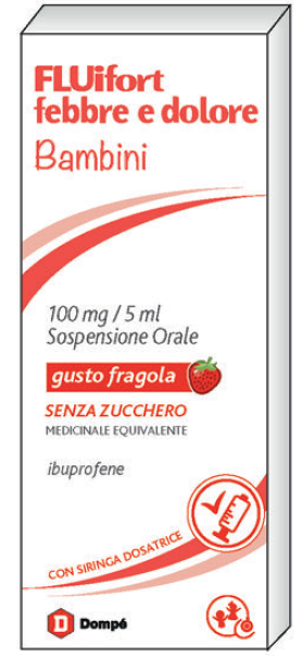 Fluifort Febbre Dol Bambini 100 Mg/5 Ml Sospensione Orale Gusto Fragola Senza Zucchero 1 Flacone Da 150 Ml Con Siringa Dosatrice