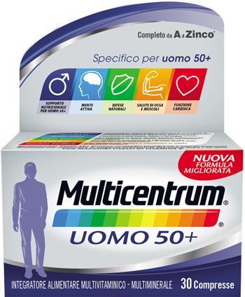 Multicentrum Linea Vitamine Minerali Uomo50+ Integratore Alimentare 30 Compresse