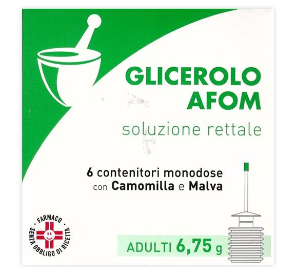 Glicerolo Afom Adulti 6,75 G Soluzione Rettale 6 Contenitori Monodose Con Camomilla E Malva