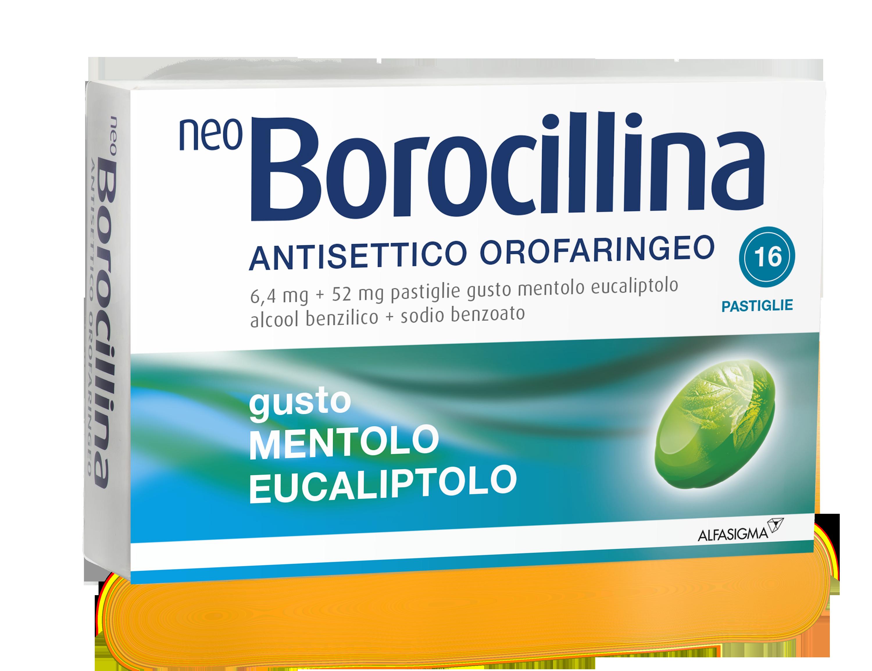 Neoborocillina Ant Or 6,4 Mg + 52 Mg Pastiglie Gusto Mentolo Eucaliptolo, 16 Pastiglie In Blister Al/Pvc