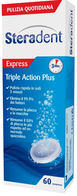 Steradent Triple Action Plus 60 Compresse Pulenti