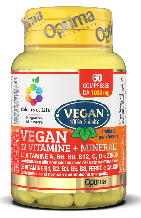 Optima Naturals Colours Of Life Vegan 12 Vitamine   3 Minerali 60 Compresse