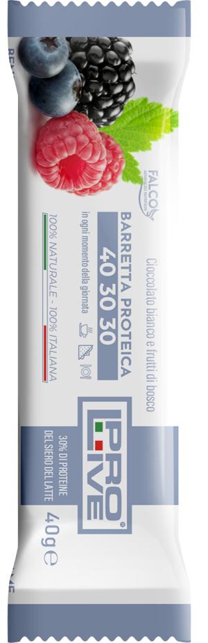 Falco Prolive 40 30 30 Barretta Proteica Cioccolato Bianco frutti Di Bosco 40 G