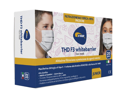 Thd Mascherina Chirurgica Thd Mask F3 Whitebarrier Tre Strati Bianco Junior 20pz