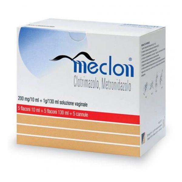 Meclon 200 Mg/10 Ml + 1 G/130 Ml Soluzione Vaginale 5 Flaconi 10 Ml + 5 Flaconi 130 Ml + 5 Cannule